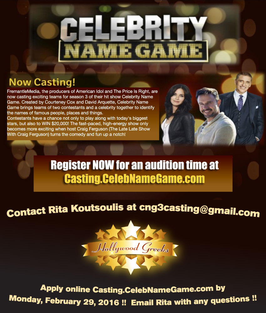 [Celebrity Name Game Casting Call in California]