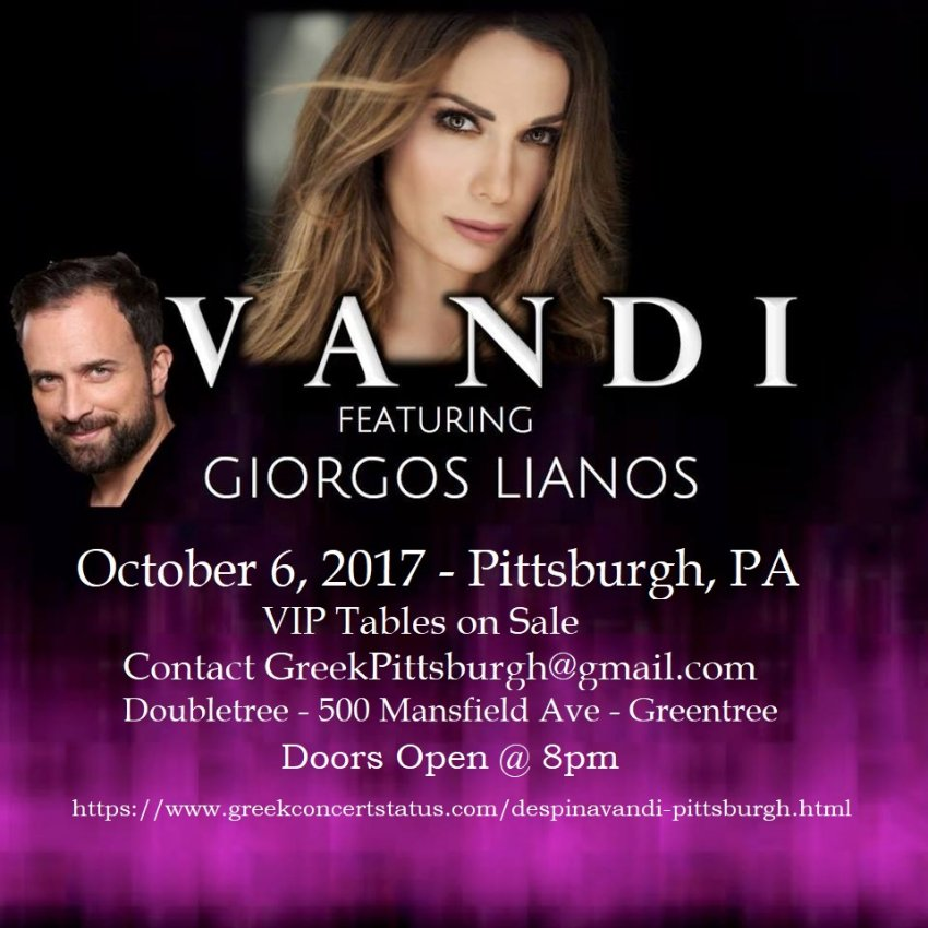 [Despina Vandi and Giorgos Lianos in concert in Pittsburgh, Pennsylvania]